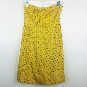 Kimchi Blue Floral Strapless Dress Side Zip Yellow